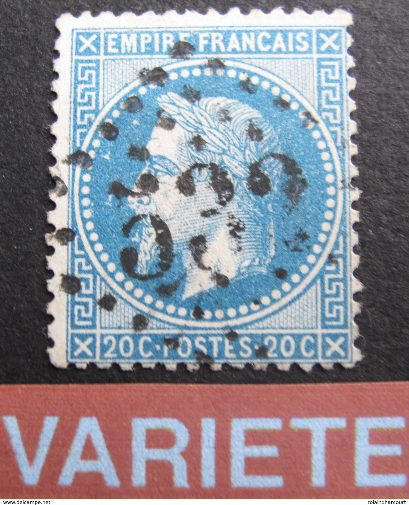 """LOT R1576/4 - NAPOLEON III Lauré N°279Bc (signé BRUN Expert) VARIETE ☛ """" Aux Abeilles """" - Cote : 300,00 € - 1863-1870 Napoleon III With Laurels"""