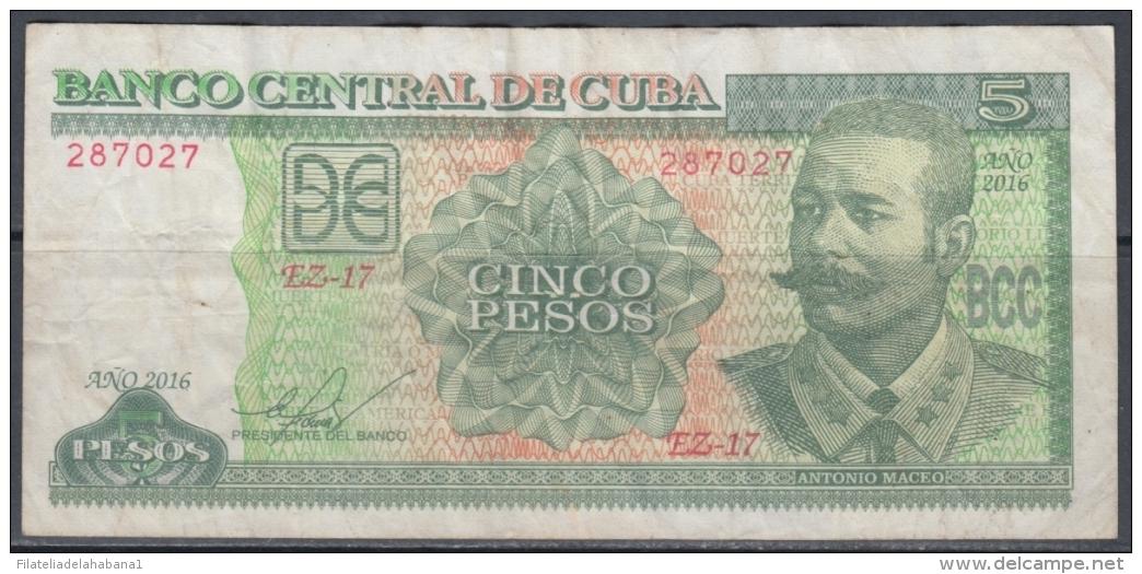 2016-BK-10 CUBA 5$ CUC 2016 ANTONIO MACEO REPLACEMENT EZ REEMPLAZO - Cuba