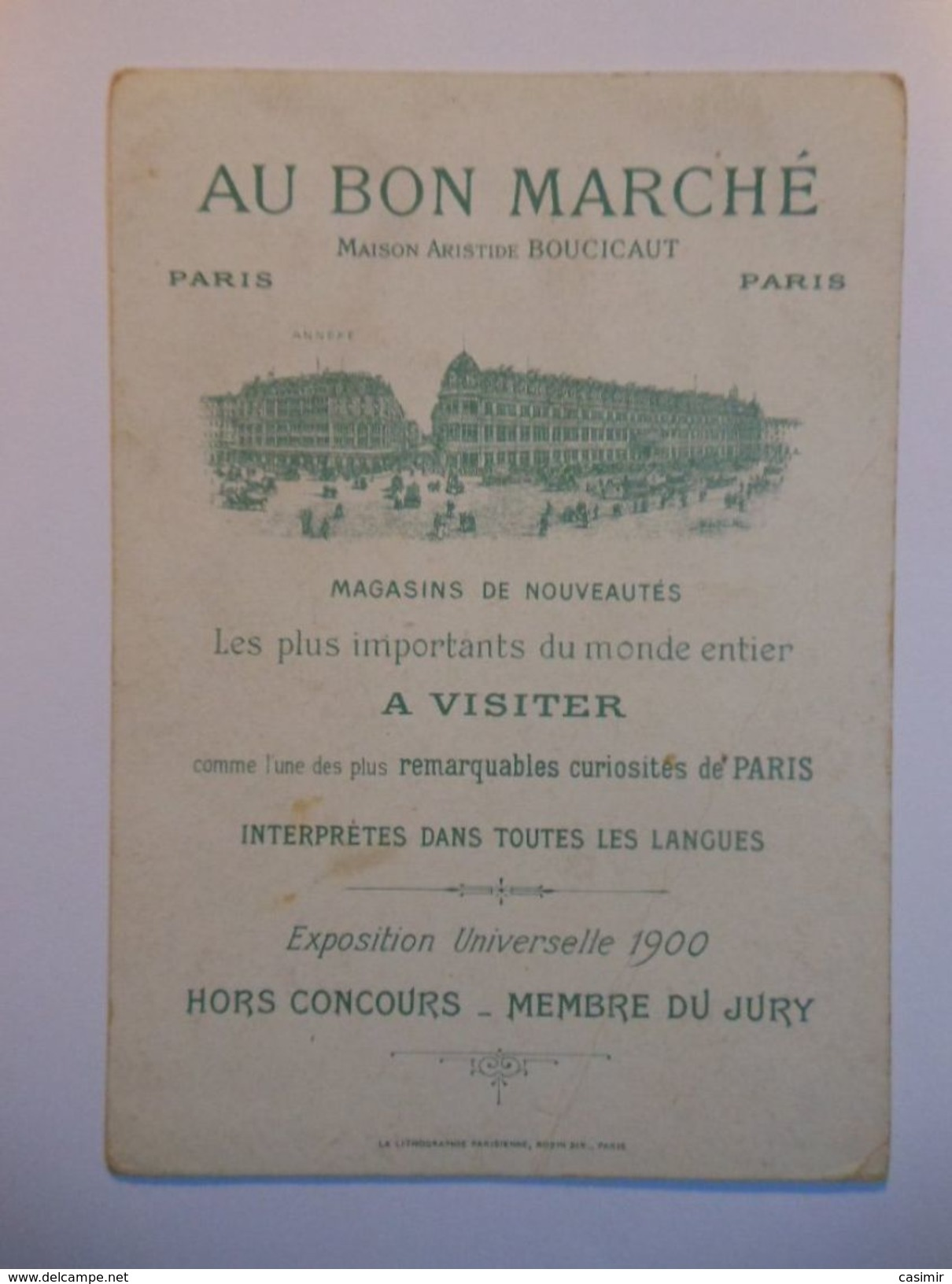 B0053c - Chromo AU BON MARCHE - LA FEE BERLIQUETTE - Vieux Papiers
