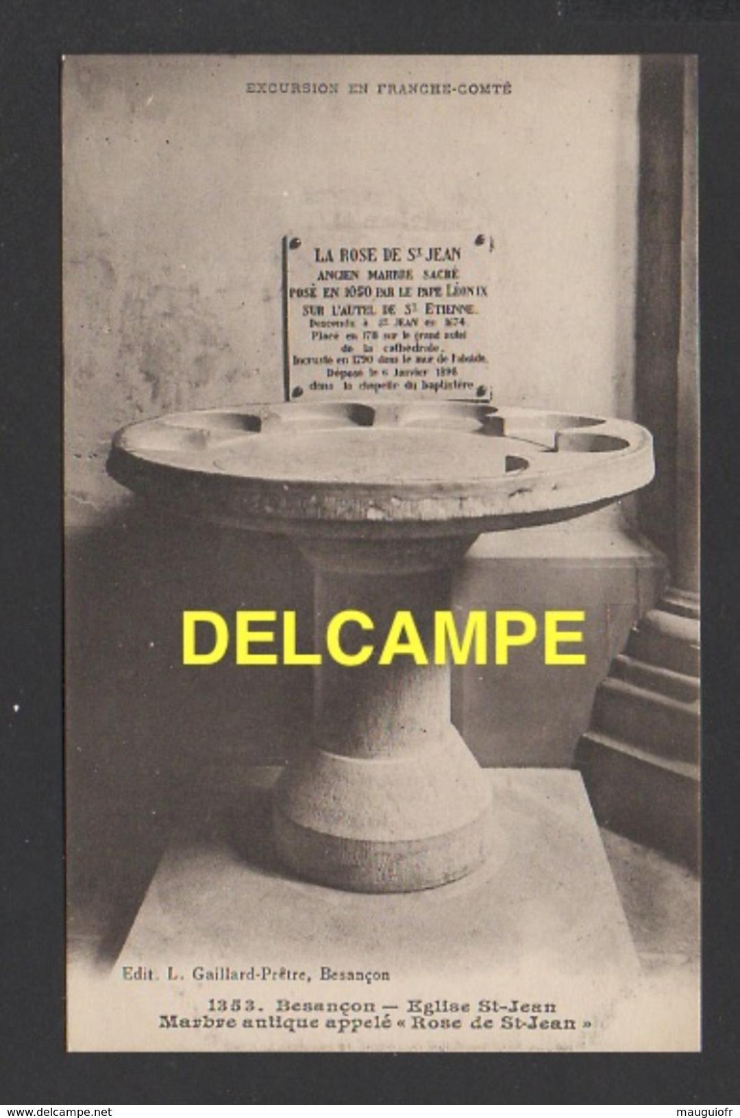 """DF / 25 DOUBS / BESANÇON / EGLISE SAINT-JEAN / MARBRE ANTIQUE APPELLÉ """" ROSE DE SAINT-JEAN """" - Besancon"""