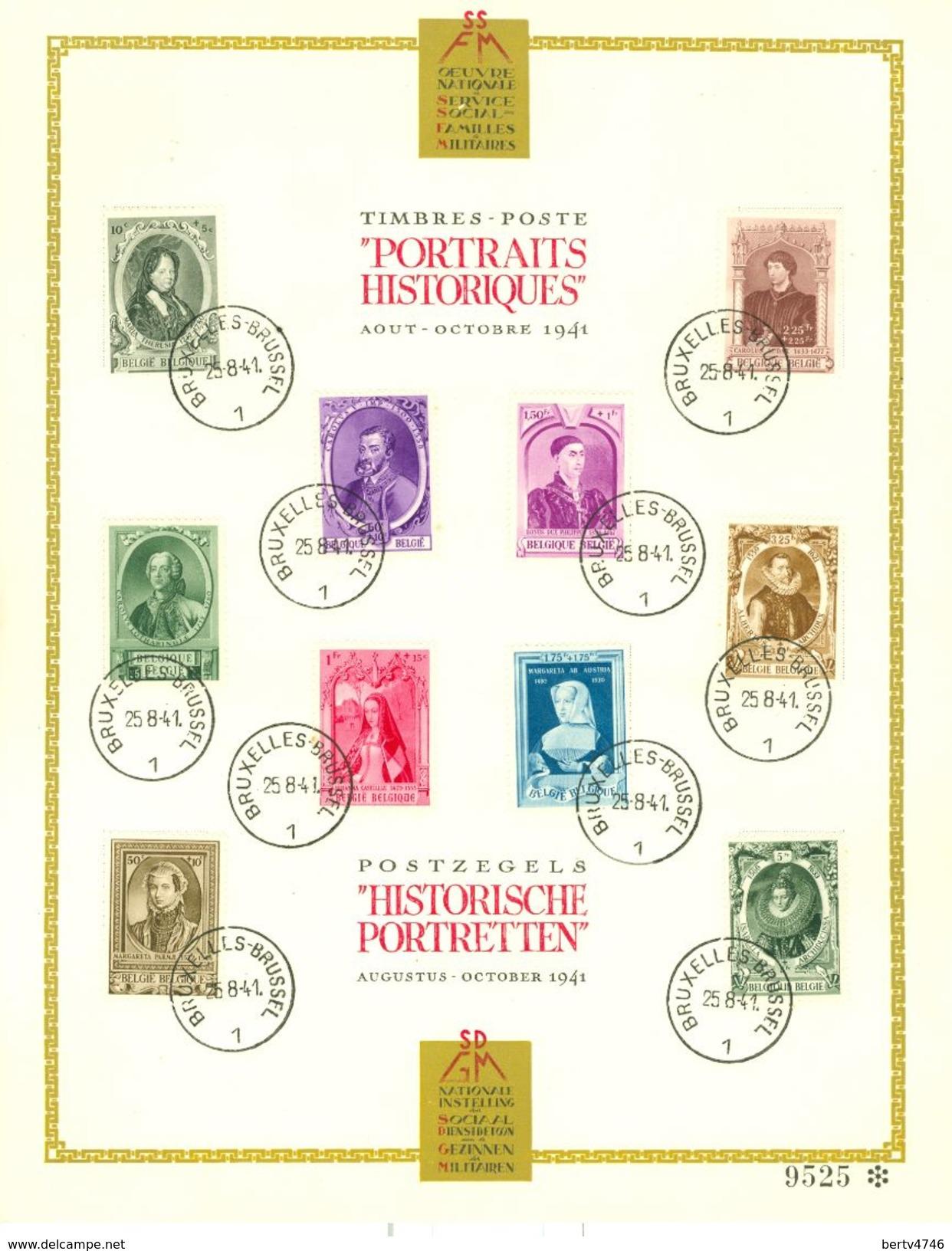 Belg. 1941 - 573/82 Europese Vorsten / Princes Européens  Bruxelles/Brussel 25-08-1941 (2 Scans) - FDC