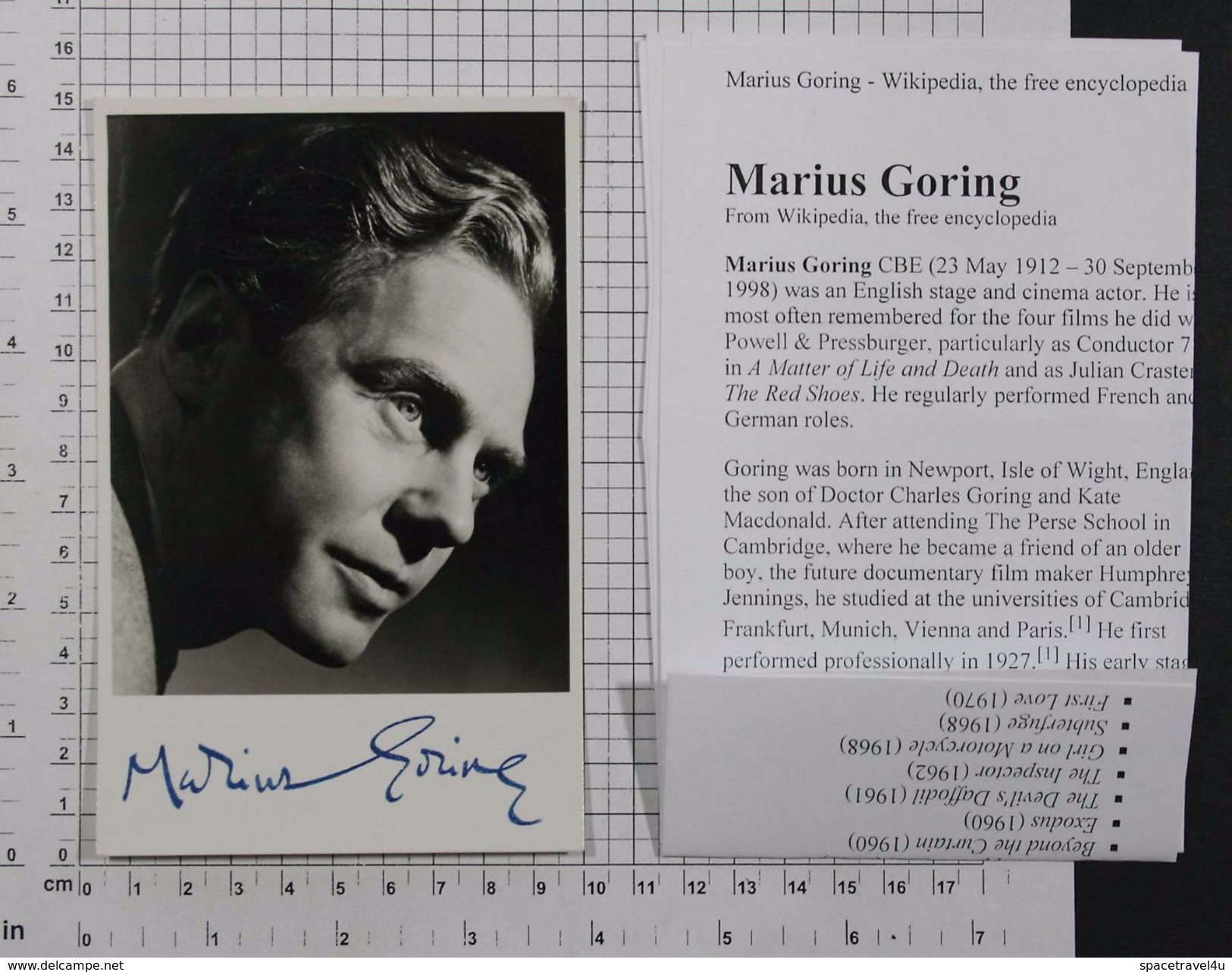 MARIUS GORING - Vintage PHOTO Autograph REPRINT (AT-19) - Reproductions