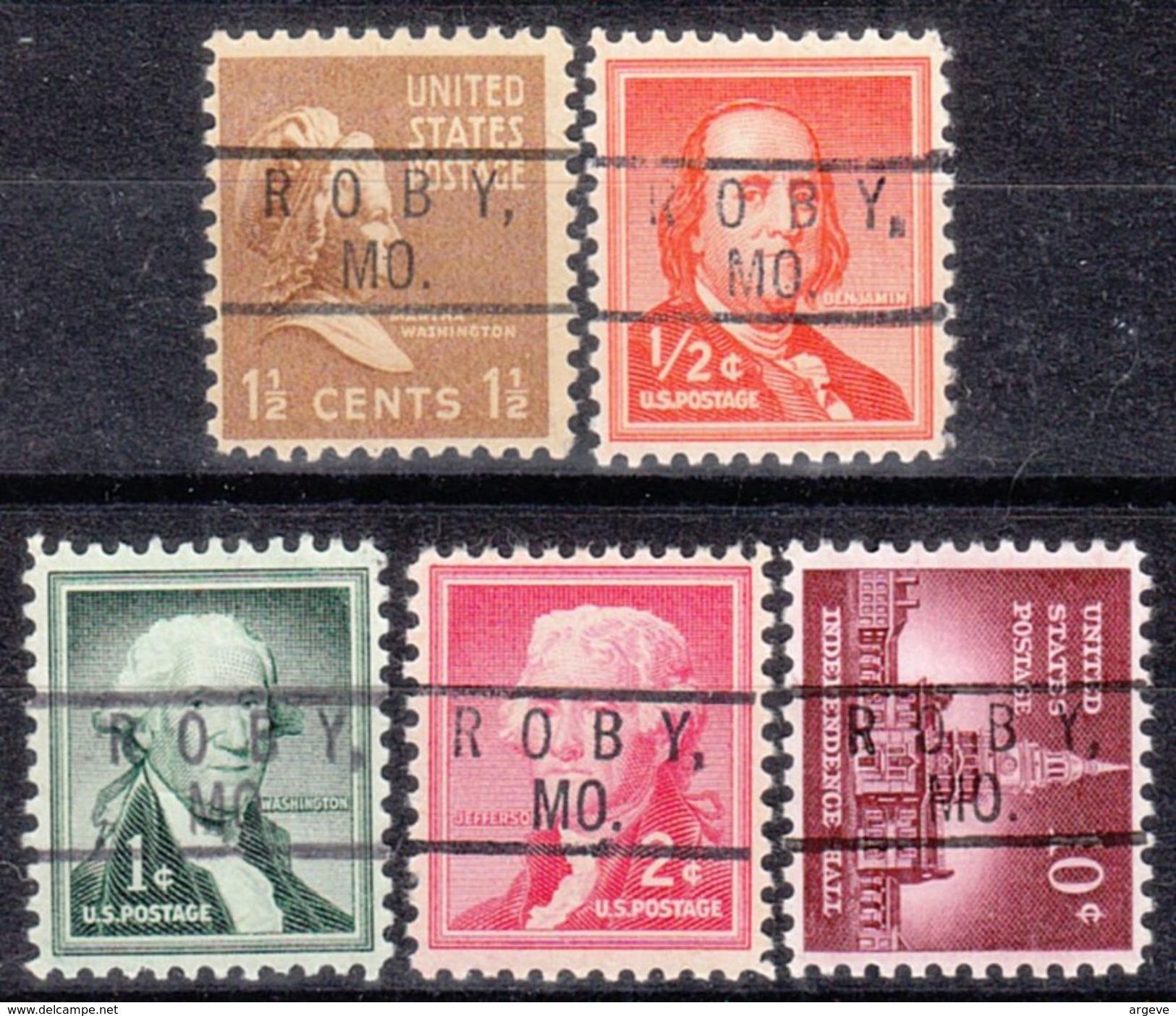 USA Precancel Vorausentwertung Preo, Locals Missouri, Roby 801, 5 Diff. - Vereinigte Staaten