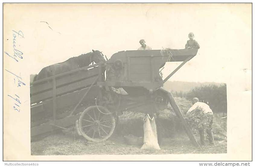 031017 - CARTE PHOTO - 55 POUILLY - Septembre 1913 Scène Agricole Cheval Moissonneuse Batteuse - France