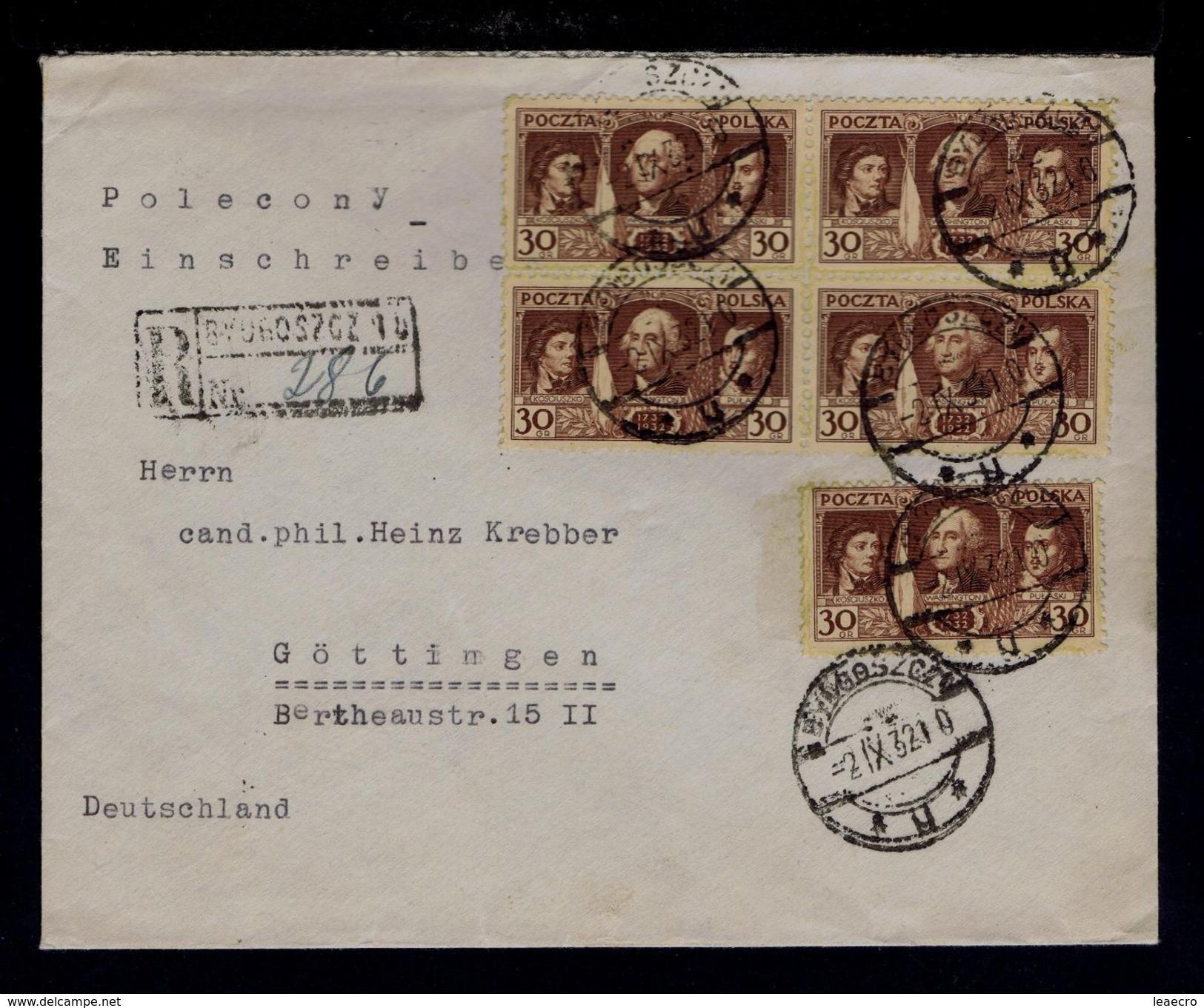 PULASKI KOSCIUSZKO WASHINGTON USA Pologne 5x Cover GOTTINGEN 1932 Célébrités Famous People Gc3050 - George Washington