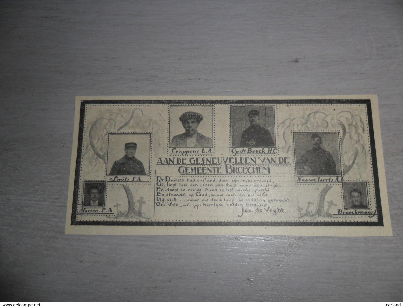 Origineel Knipsel ( 941 ) Uit Tijdschrift   :  Gesneuvelden Van Broechem - Soldaten Soldaat Oorlog Soldat - Ohne Zuordnung