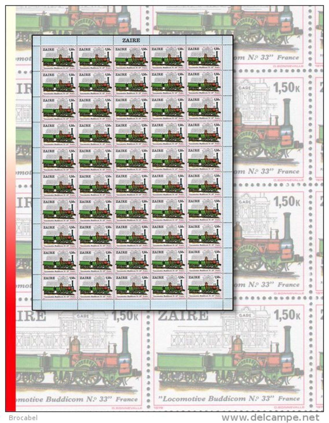 """Zaire 0993** 1,50K  Locomotive """"Buddicom 33"""" - Feuille / Sheet De 50  MNH - 1980-89: Neufs"""