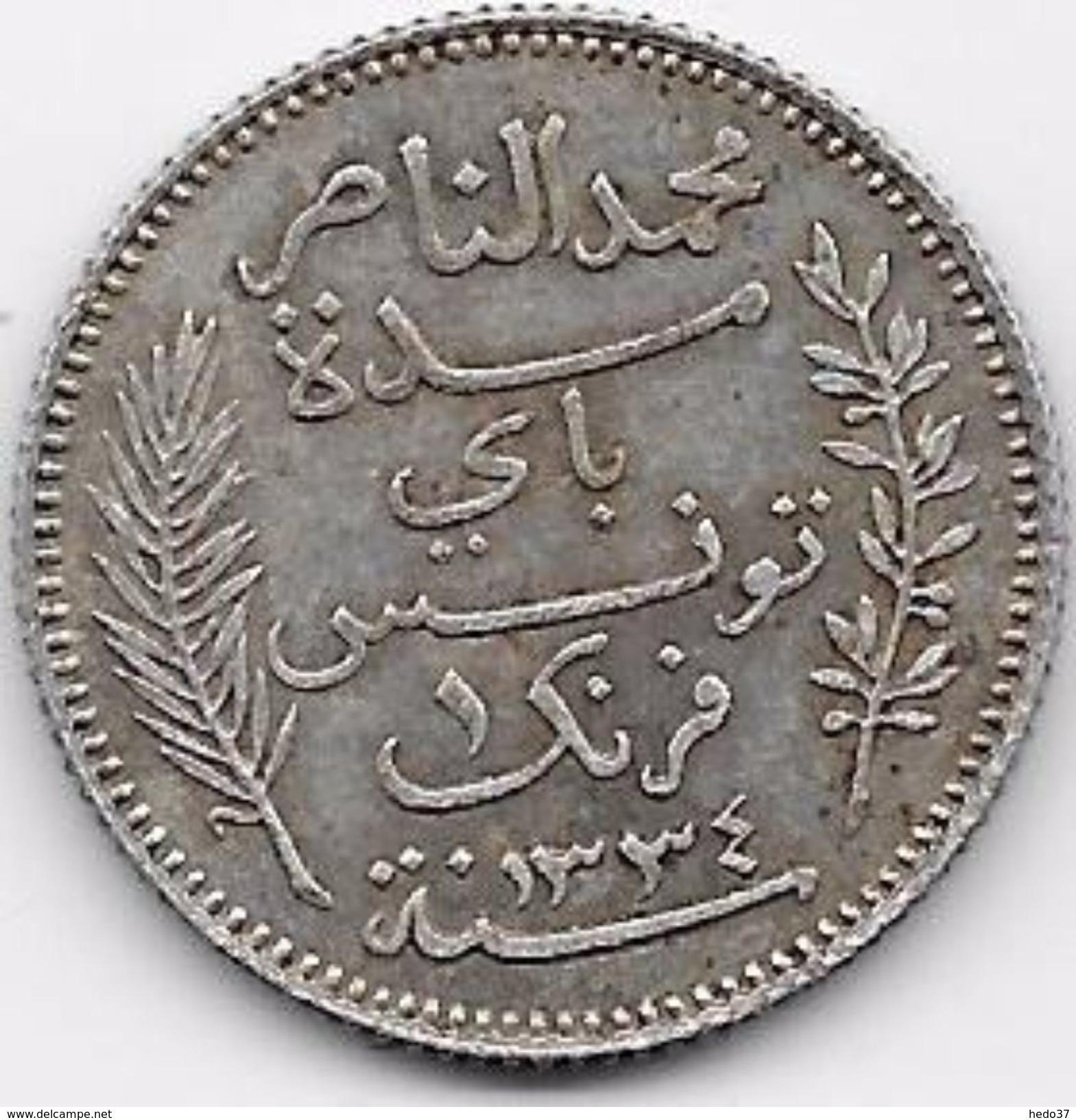 Tunisie 1 Franc 1916 Argent - Monnaies