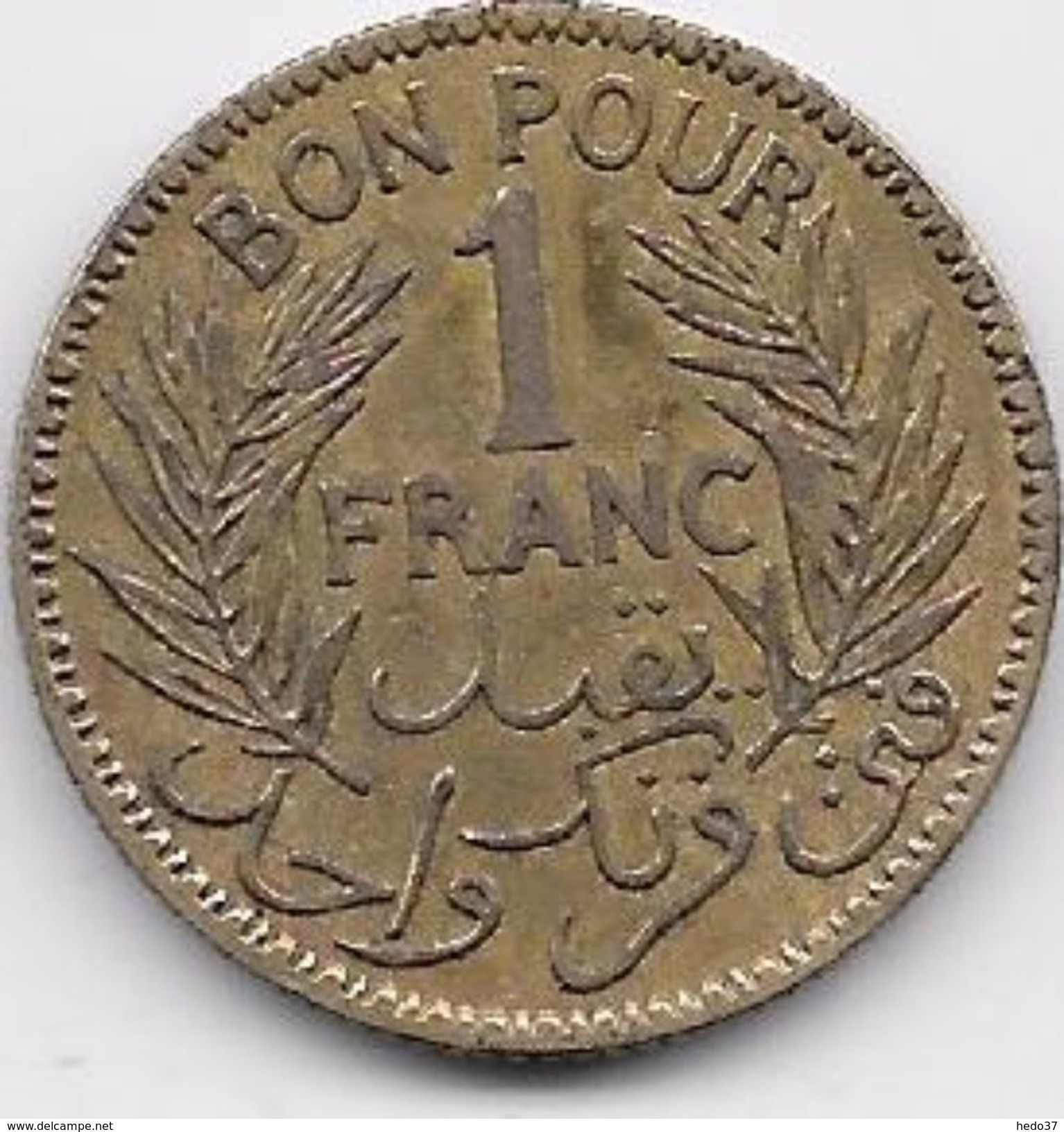 Tunisie 1 Franc 1921 - Monnaies