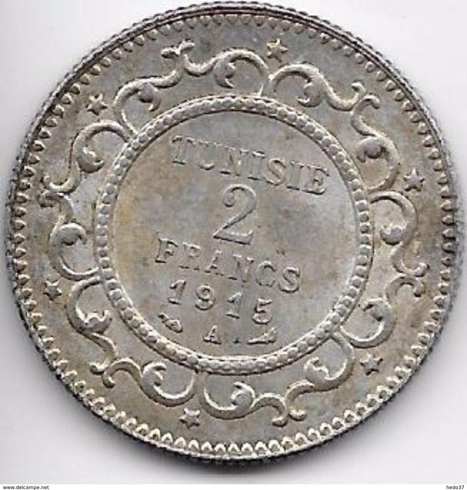 Tunisie 2 Francs 1915 Argent - Monnaies