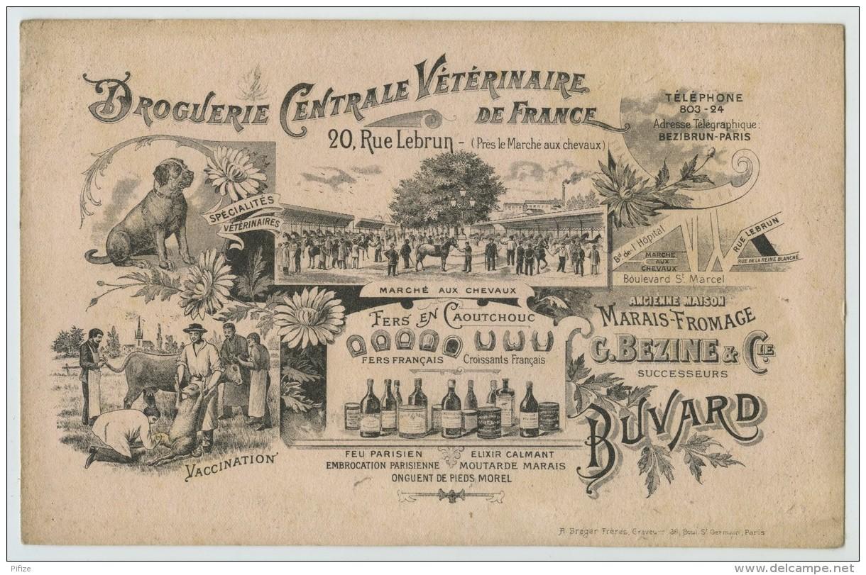 Buvard 1900-10 Droguerie Centrale Vétérinaire De France, 20 Rue Lebrun à Paris. Marché Aux Chevaux . Bezine . - Buvards, Protège-cahiers Illustrés