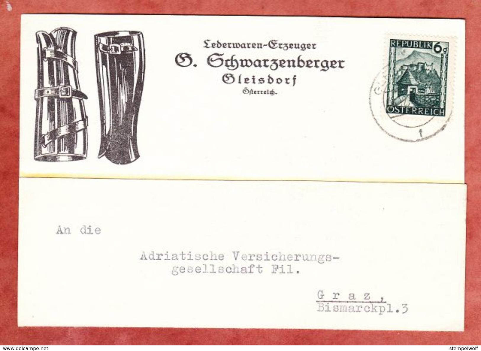 Illustrierte Karte Lederwaren, EF Salzburg, Gleisdorf Nach Graz 1946 (42077) - 1945-60 Covers