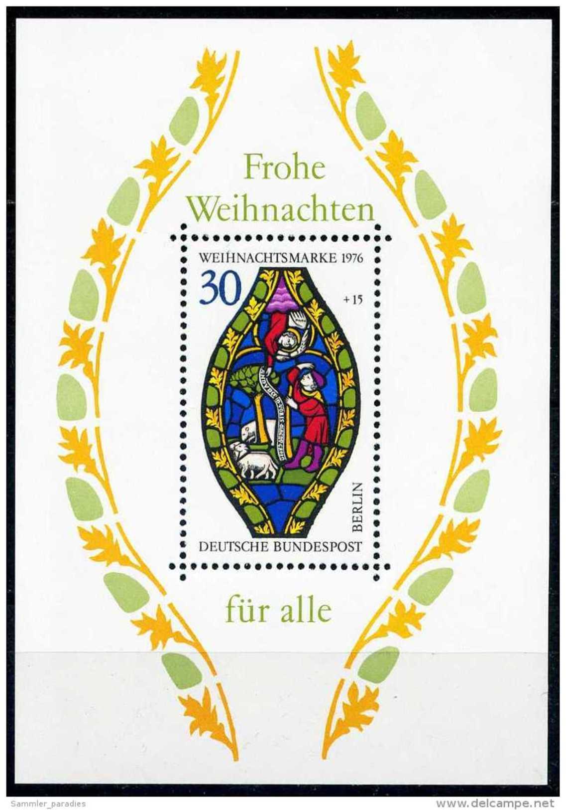 A00-23) Berlin - Mi Block 5 = 528 - ** Postfrisch (A) -30+15Pf           Weihnachten 76 - Berlin (West)