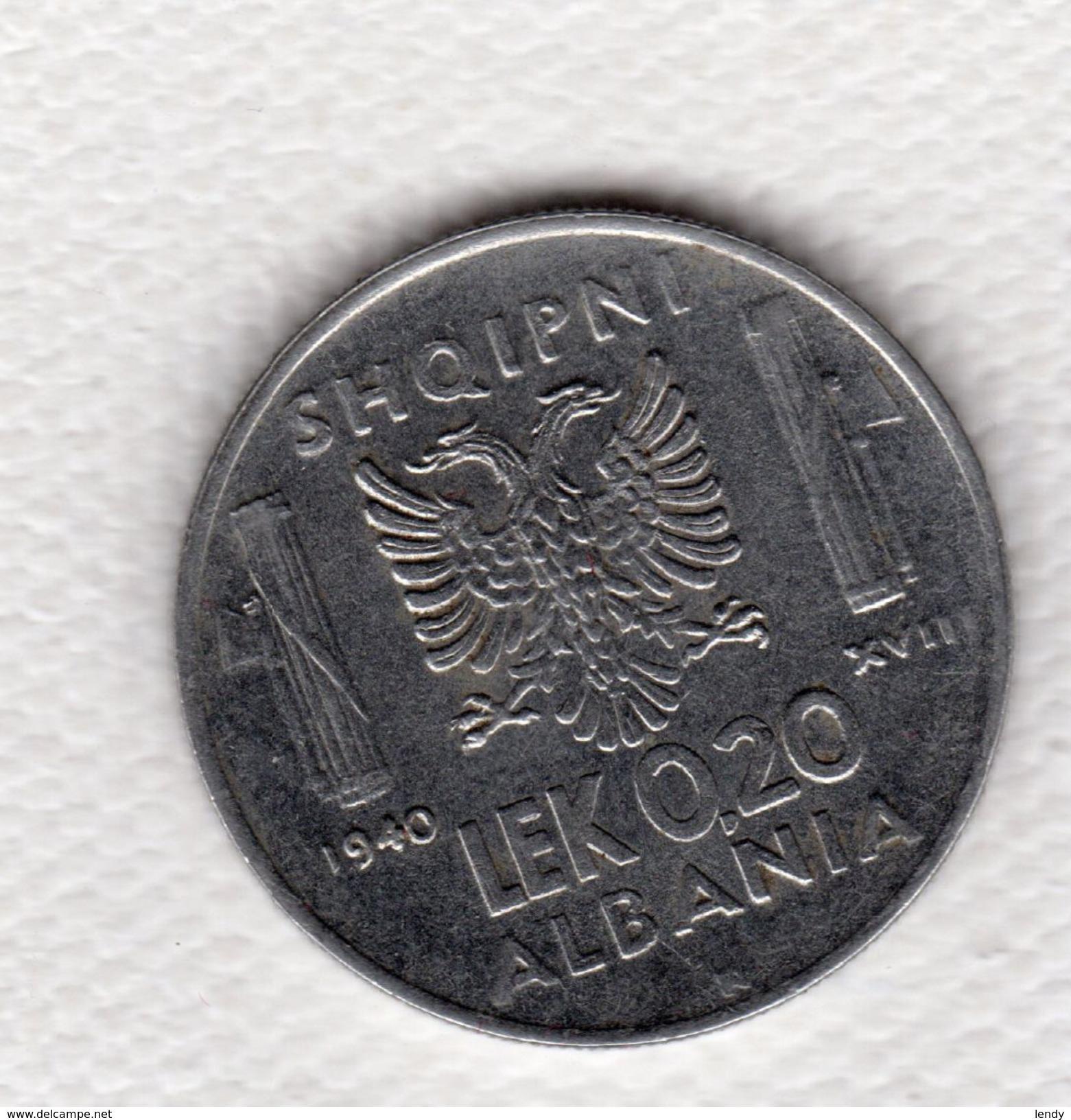 Albania 0.20 Lek 1940 Vittorio Emanuele III Italia Splendida - Albanie