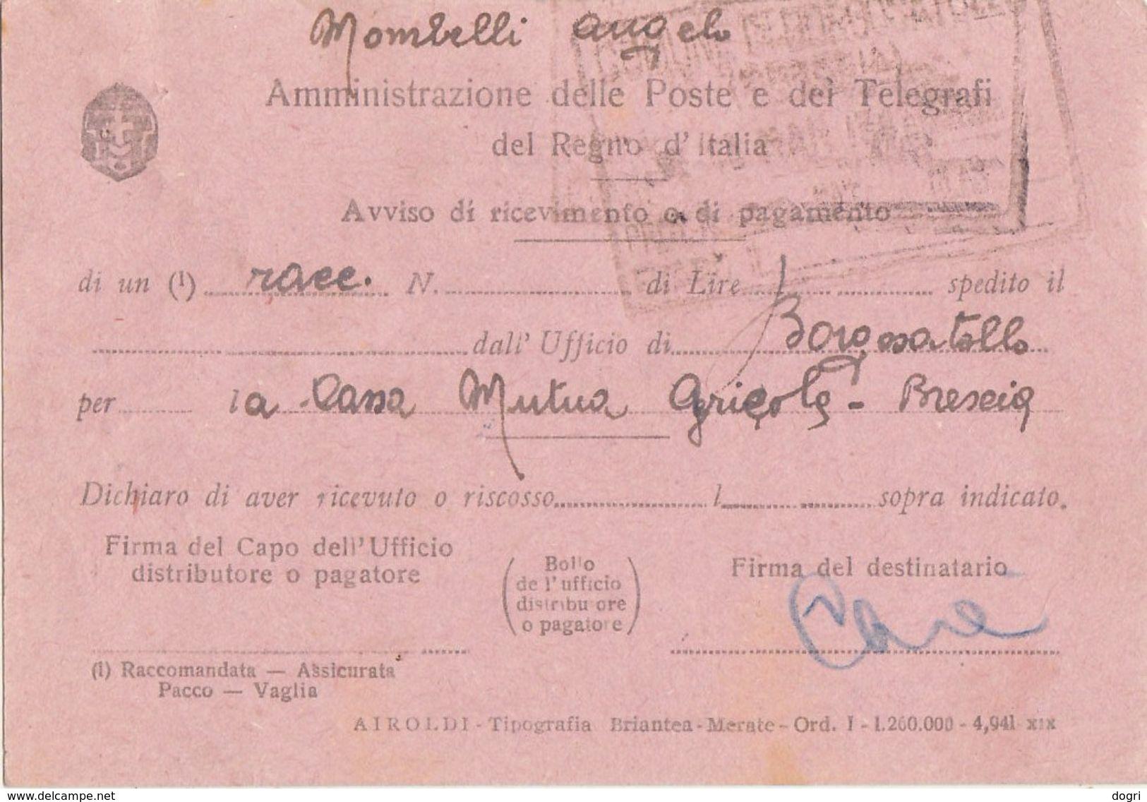 1946 Avviso Di Ricevimento Con Democr. 3L.+2x10+2x40c. - 6. 1946-.. Repubblica