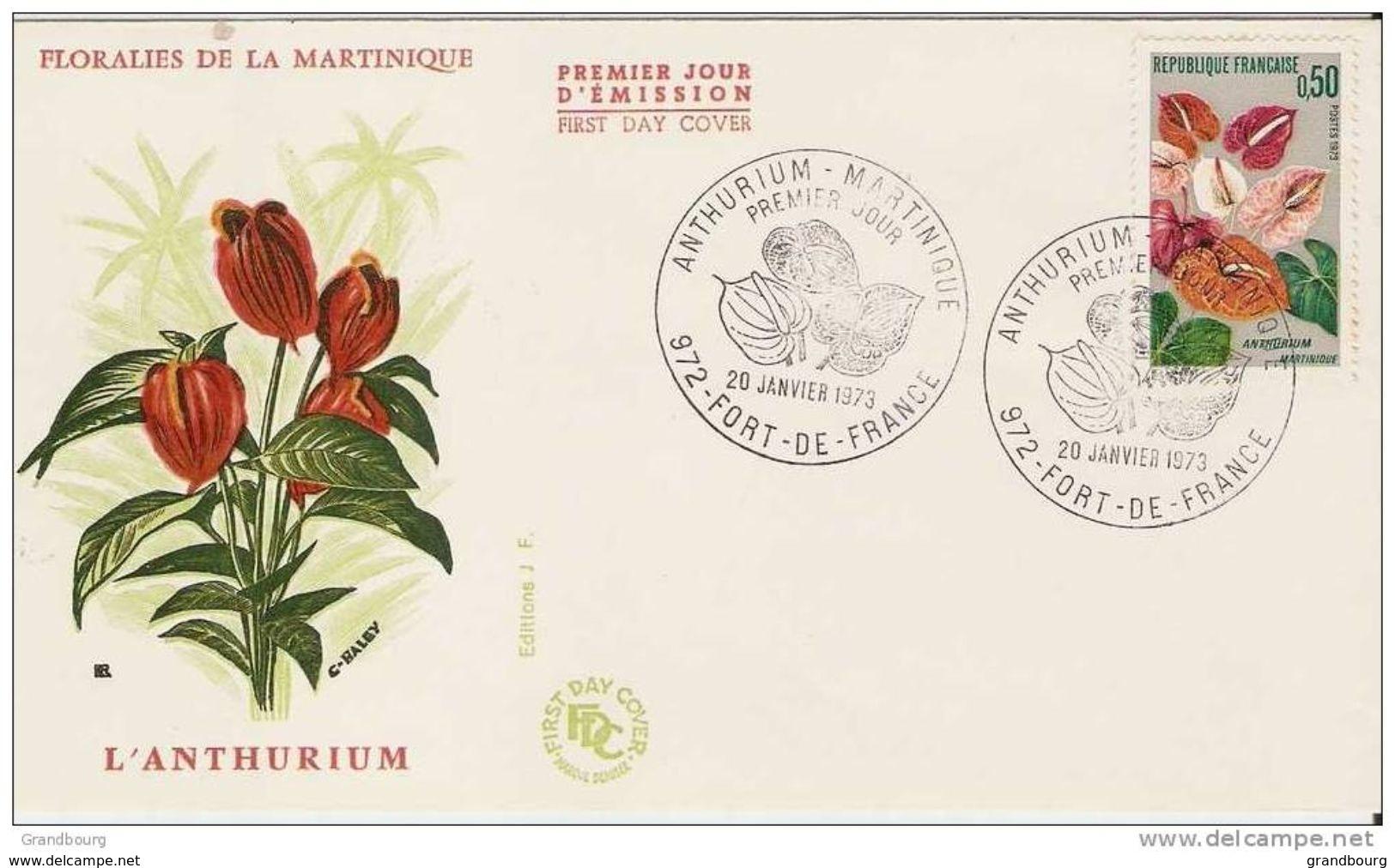 2- FRANCE  Yvert 1738 Anthurium Fleur Flower FLORALIES MARTINIQUE 1973 - Covers & Documents