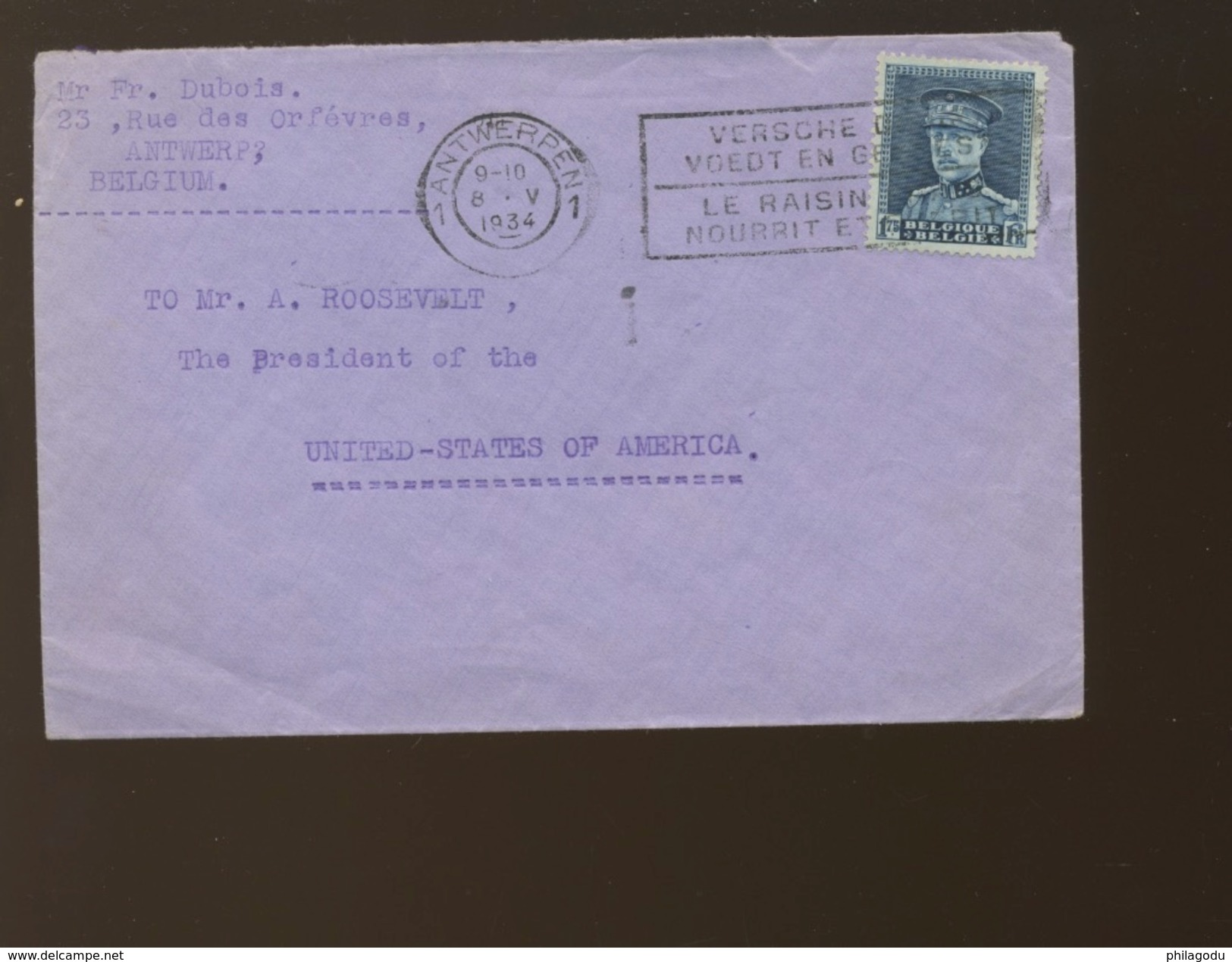 1934 Letter Who Was In The Private Collection Of The US President  Franklin D.Rooseveld (Harmer Inc N.Y.  Certified) - 1931-1934 Képi