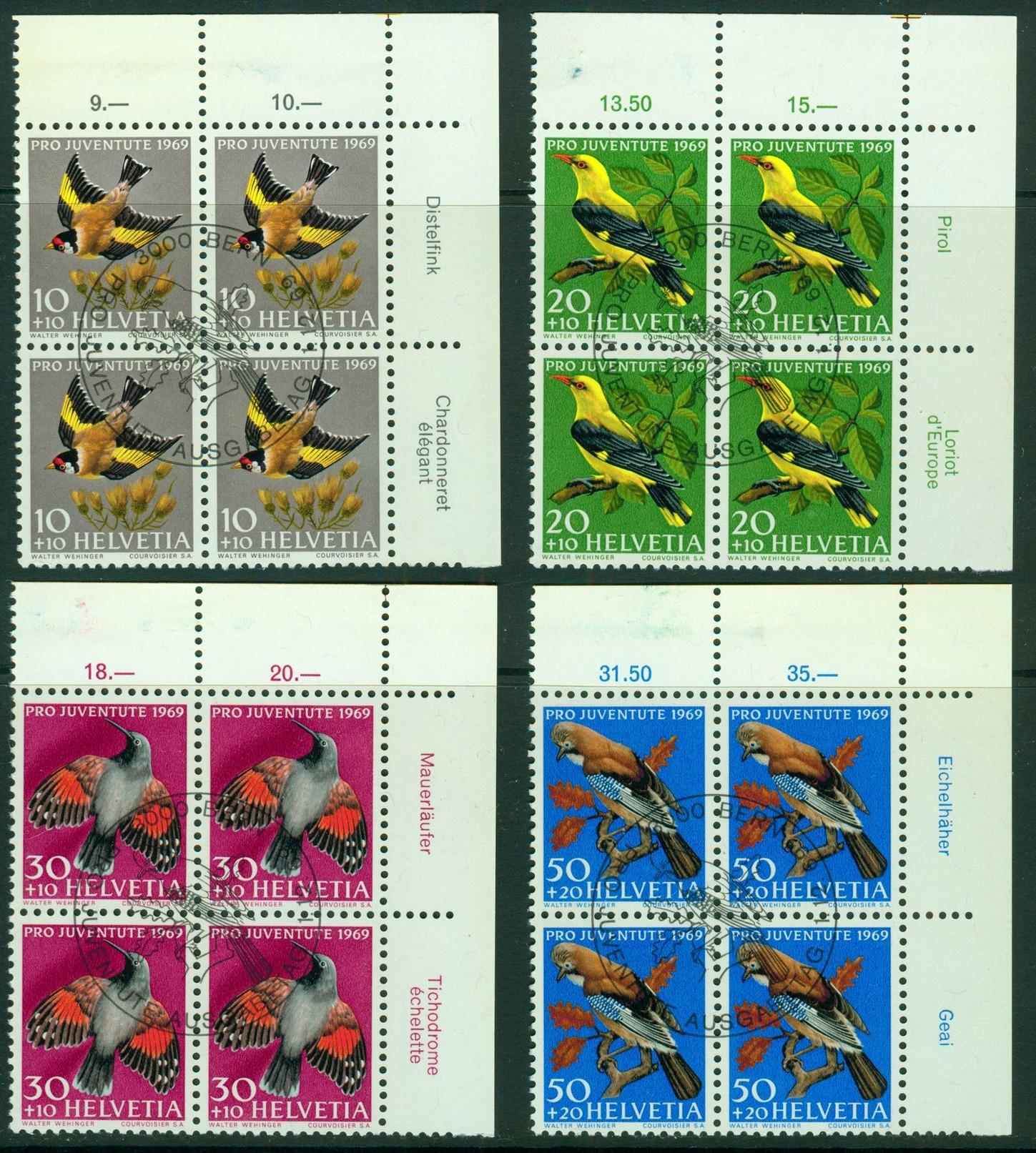 Pro Juventute 1969 Eckrandviererblocke Mit Erstagsstempeln Nr. 914 - 917 - Gebraucht