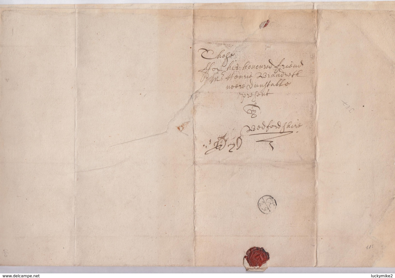"""1665 'plague' Letter From """"Tho.Loveday, London"""" To """"Henrie Brandreth, Dunstable"""" With 'OC/29' Bishop Mark.  Ref  0447 - Postmark Collection"""