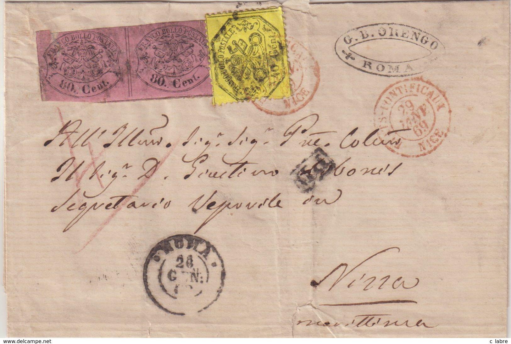 ITALIE : ETATS PONTIFICAUX . N° 18 . PAIRE . ET N° 24 . POUR NICE . 1869 . ( DEFAUTS ) . LST . - Etats Pontificaux