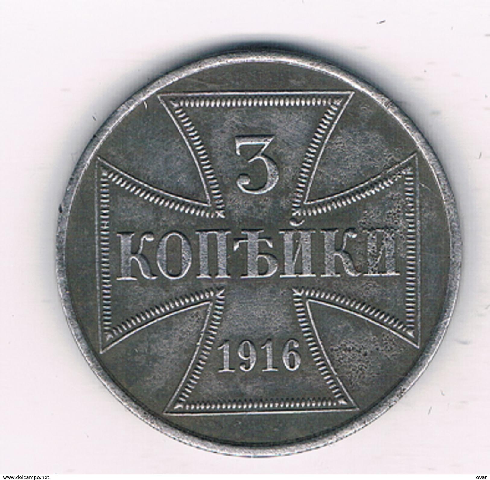3 KOPEK 1916 J  ZONE-OST  POLEN /1011E/ - Pologne