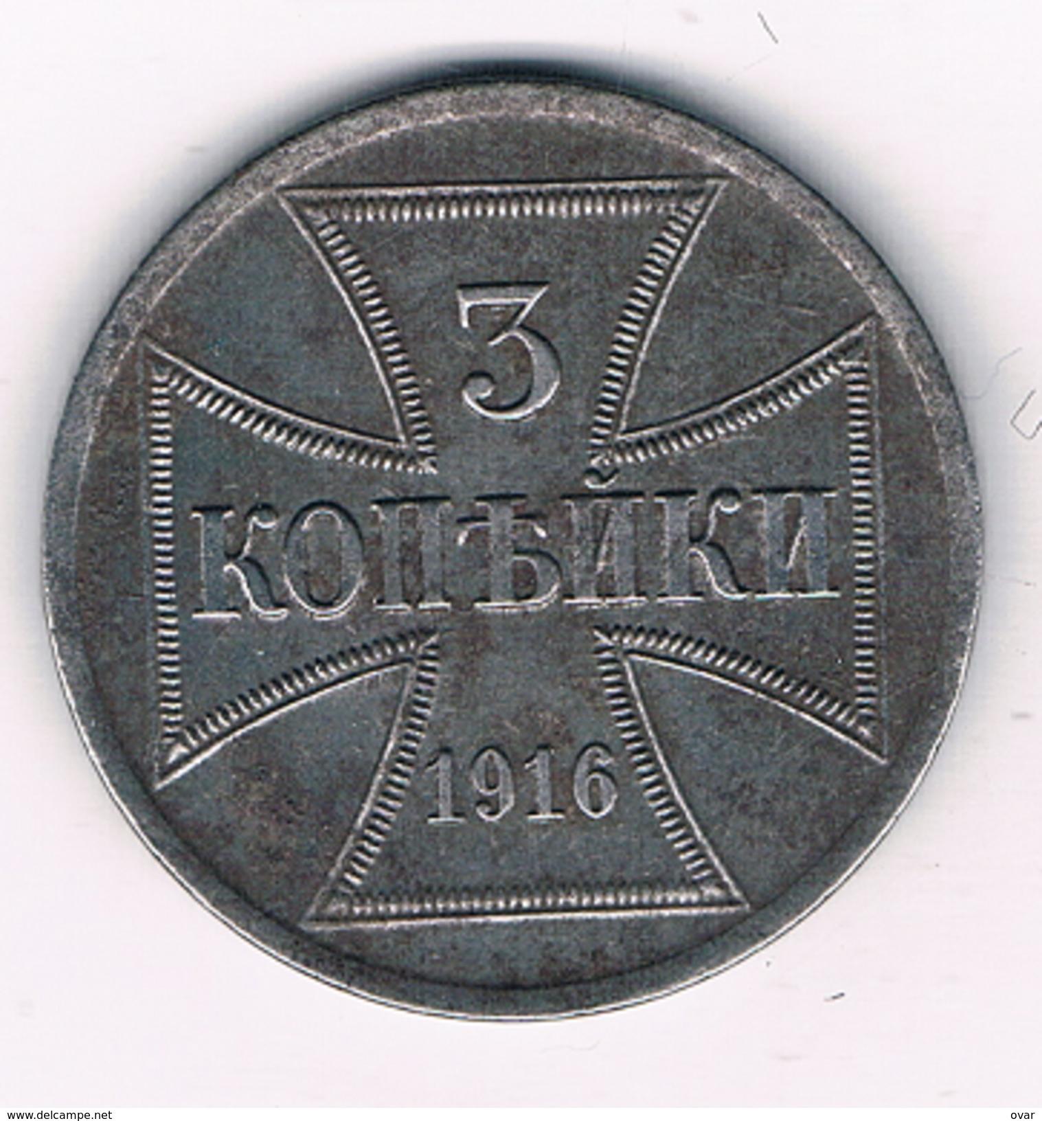 3 KOPEK 1916 A   ZONE-OST  POLEN /1012E/ - Pologne