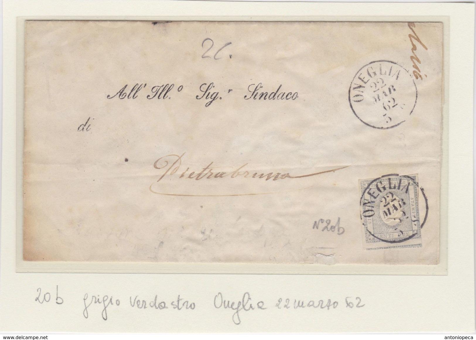 SARDEGNA 22 Marzo 1862 Giornali 2c Grigio Verdastro Su Lettera Da Oneglia Per Pietrabruna - Sardegna