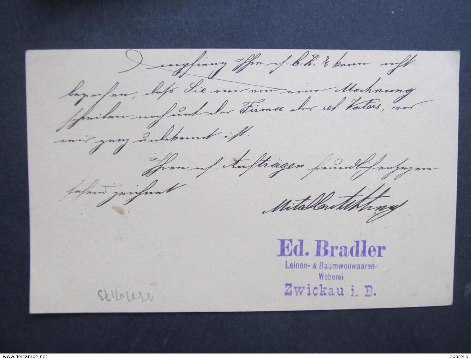 GANZSACHE Korrespondenzkarte Zwickau In Böhmen - Horazdovice Ed. Brandler /// D*27782 - 1850-1918 Imperium