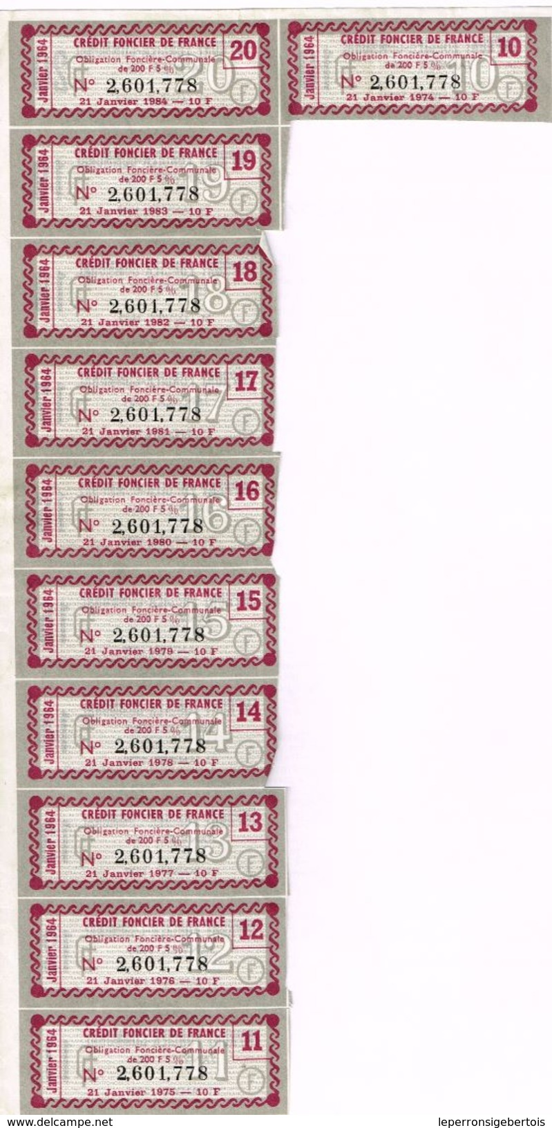 Obligation Ancienne - Crédit Foncier De France 1964 -1984 - - Banque & Assurance