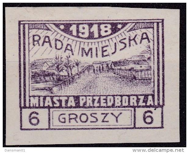 POLAND 1918 Przedborz Local Fi 9A Mint Hinged Signed Mikulski T.2 - ....-1919 Übergangsregierung