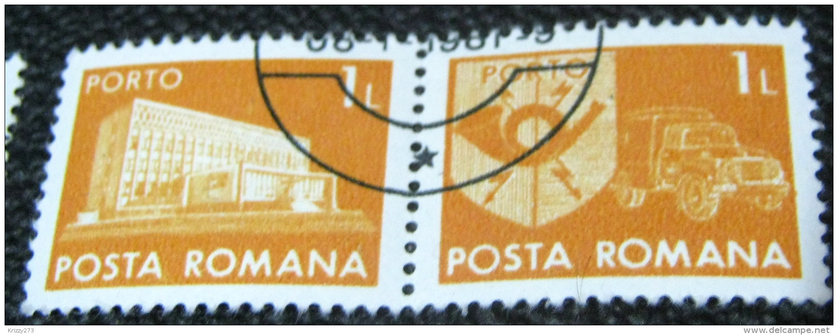 Romania 1974 National Post & Telecommunications Postage Due 1L - Used X2 - Port Dû (Taxe)