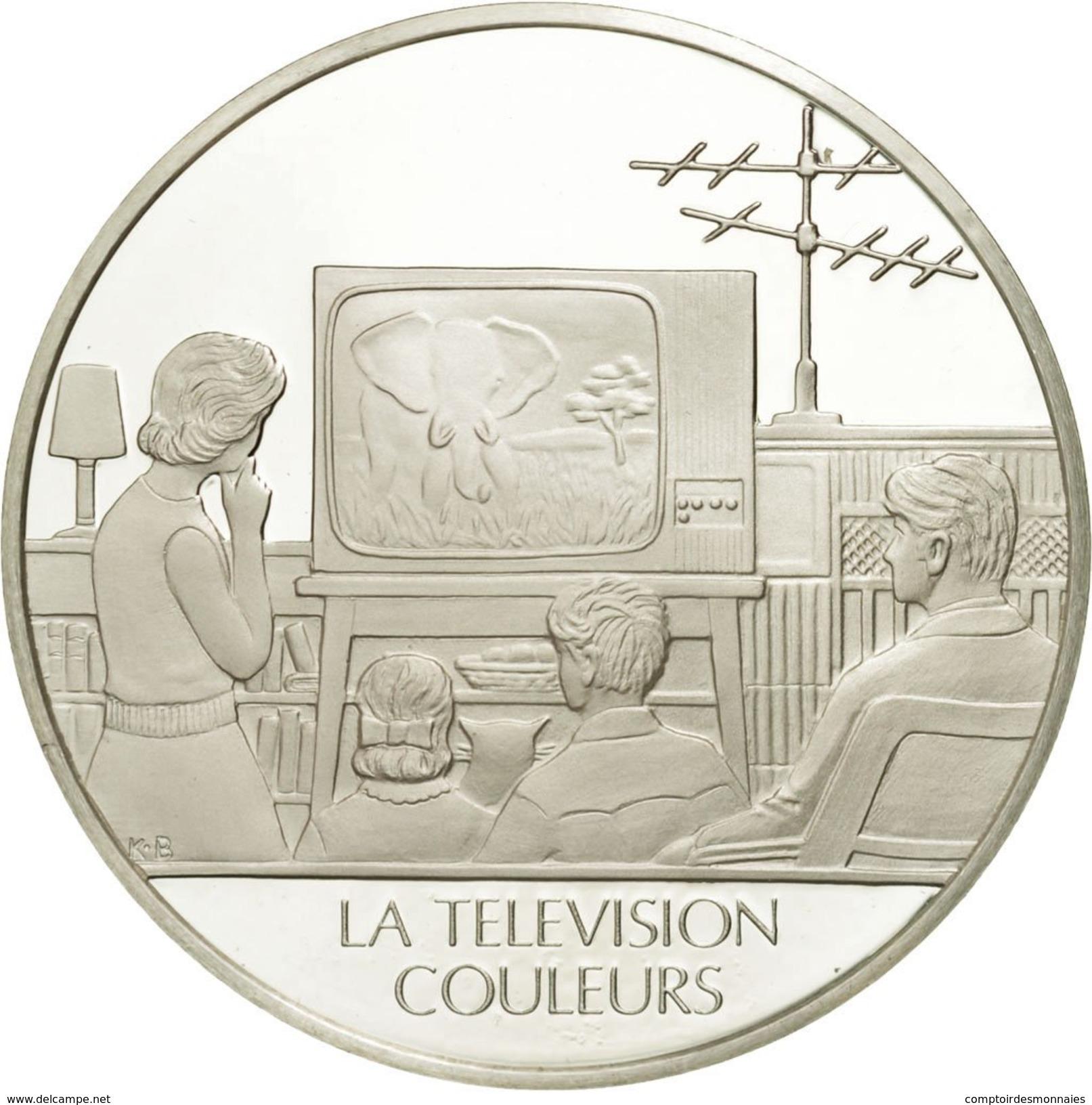 France, Medal, La Télévision Couleurs, Sciences & Technologies, FDC, Argent - France