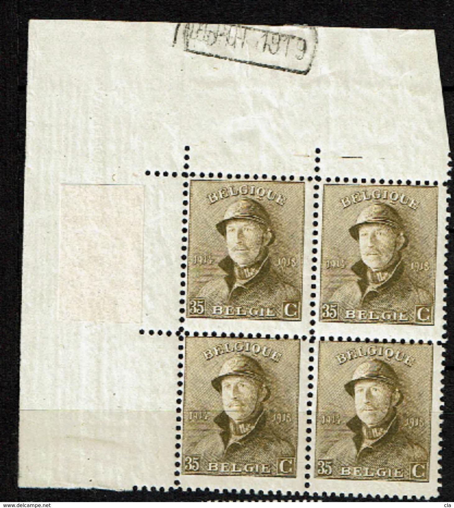 172 Bloc 4  **  Cdf * Et Aminci  Dépôt 1919  Tbres ** - 1919-1920 Roi Casqué