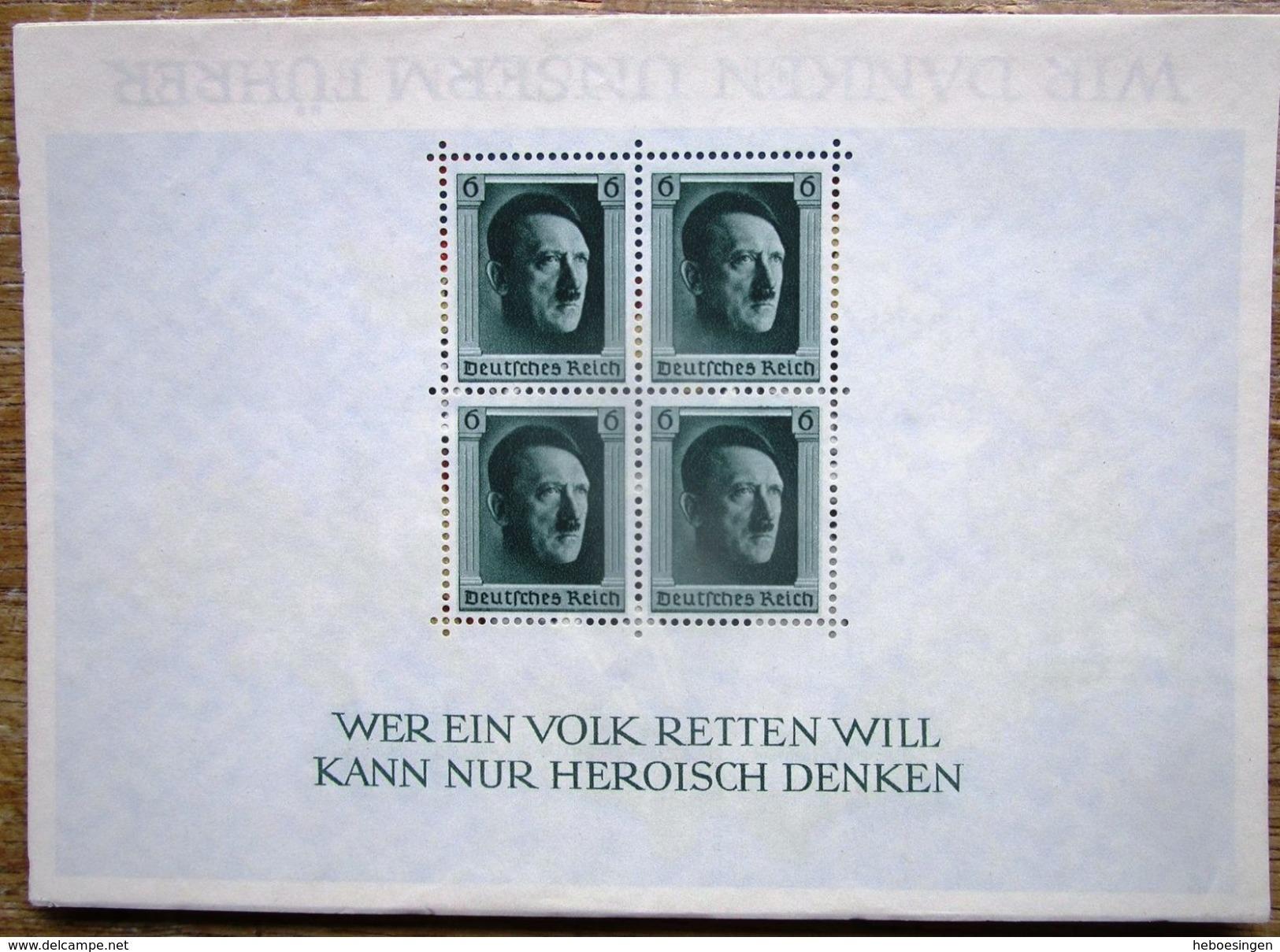 DR Hitler Block 7 Ungebraucht Aufgeklebt Auf Karte Wir Danken Unserem F....... Unikat - Gebraucht