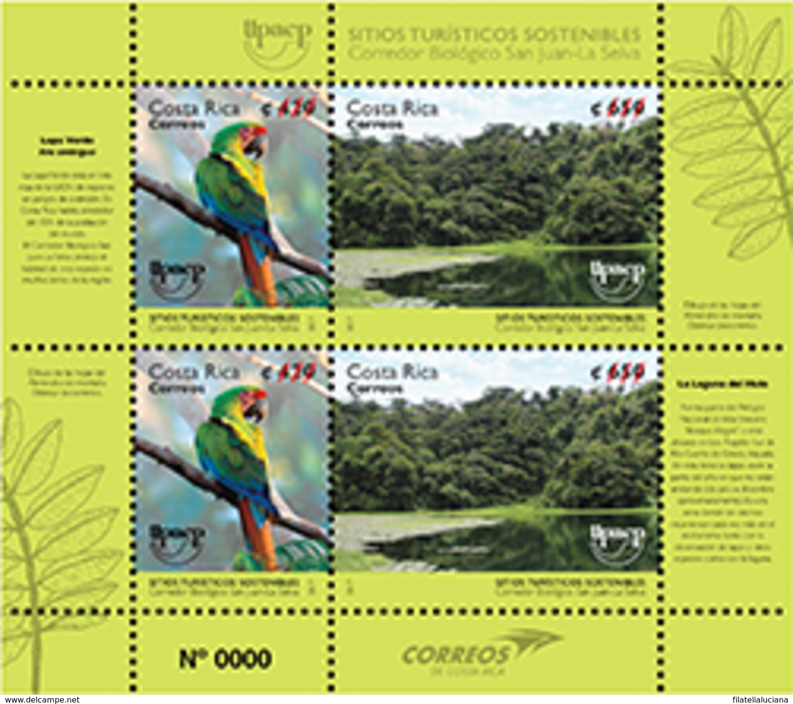 COSTA RICA New Issue America Upaep Birds National Parks 2017 Scarce Lapa Verde - Perroquets & Tropicaux