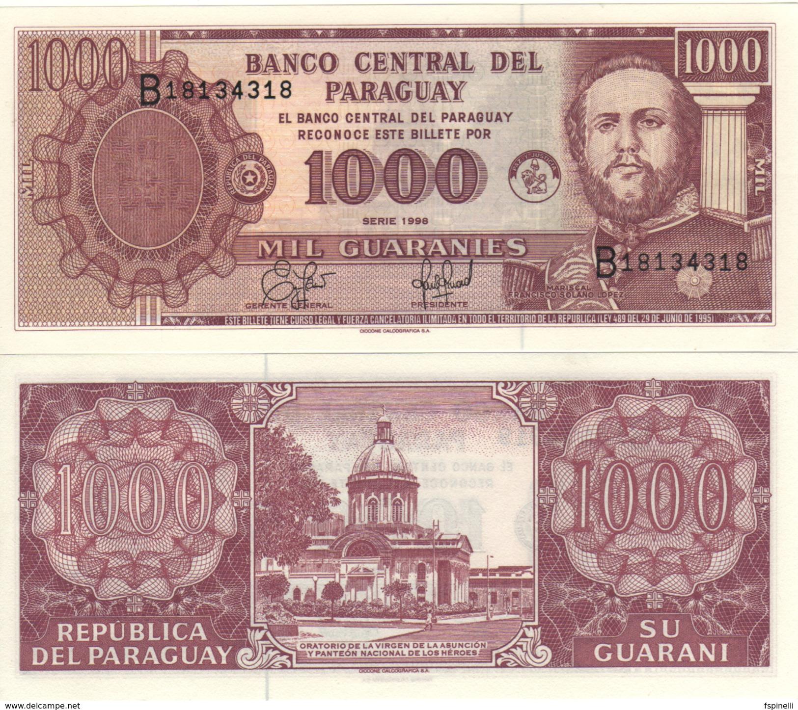 PARAGUAY 1'000 Guaranis  P214a     Dated 1998   UNC - Paraguay