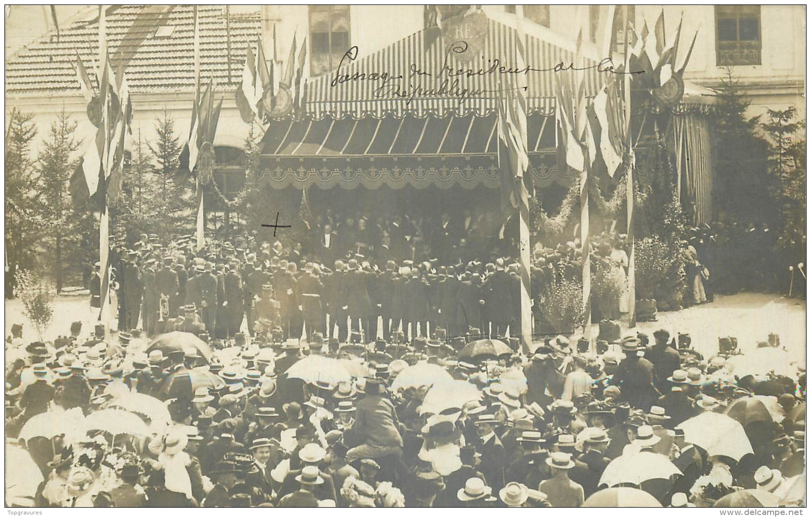 87 CARTE PHOTO SAINT-JUNIEN PENDANT PASSAGE PRESIDENT DE LA REPUBLIQUE POINCARE - Saint Junien