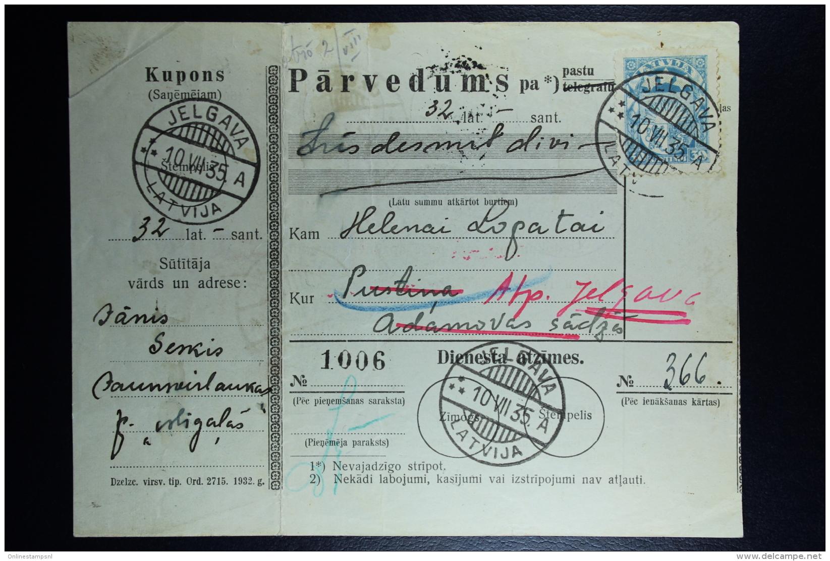Latvia:  Money Order 1935 Mitau Jelgava Indra Pustina - Latvia