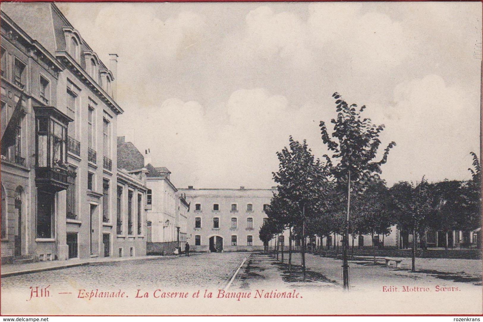 Ath AAT Esplanade La Caserne Et La BAnque Nationale ZELDZAAM Geanimeerd - Ath