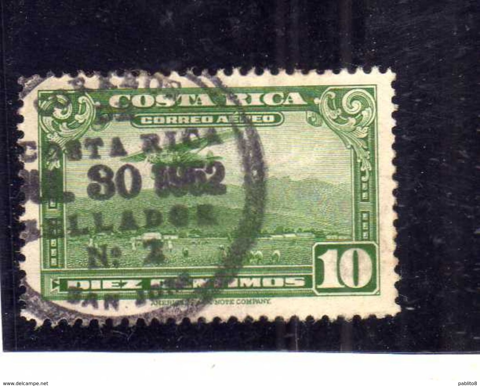 COSTA RICA 1952 1953 AIR MAIL POSTA AEREA AEREO MAIL PLANE ABOUT TO LAND CENT 10c USATO USED OBLITERE' - Costa Rica