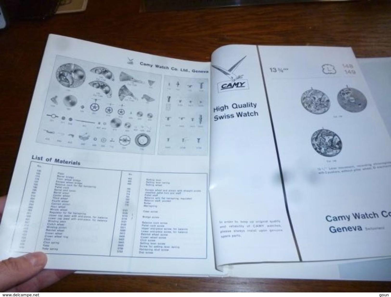 Folder Technique Horlogerie Société Camy Watch Co. Ltd Geneva Genève Montre - Bijoux & Horlogerie