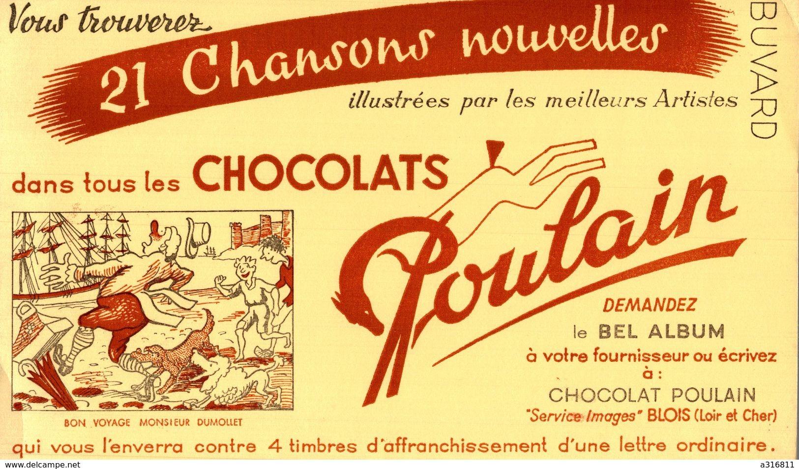 CHOCOLAT POULAIN BON VOYAGE MONSIEUR DUMOLET - Buvards, Protège-cahiers Illustrés