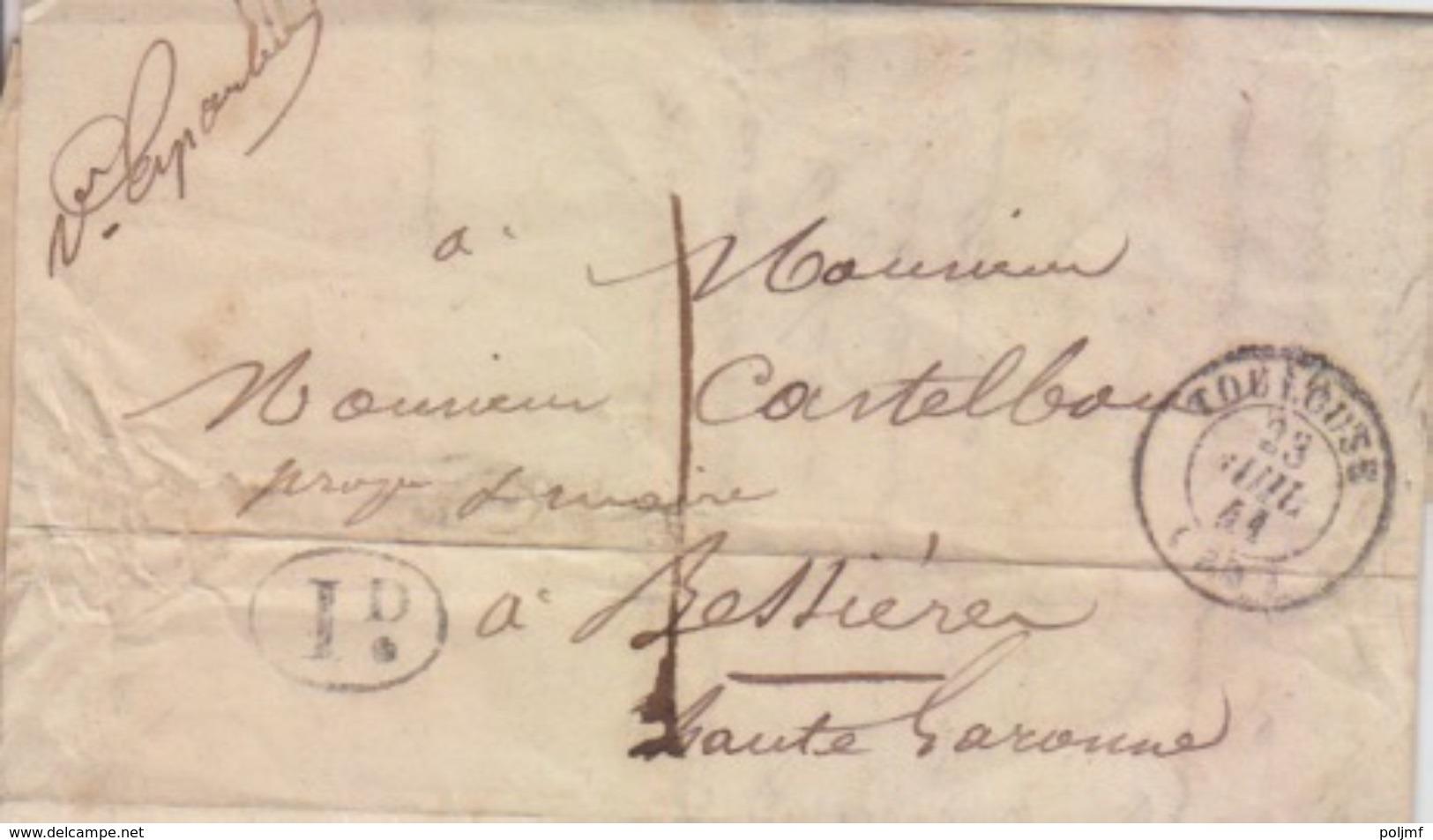 Lettre De Toulouse (T 15) Du 23 Juil 1841 Pour Bessières, Taxe 1 Décimes + 1D Rural Et Cursive La Pointe St Sulpice - Postmark Collection (Covers)