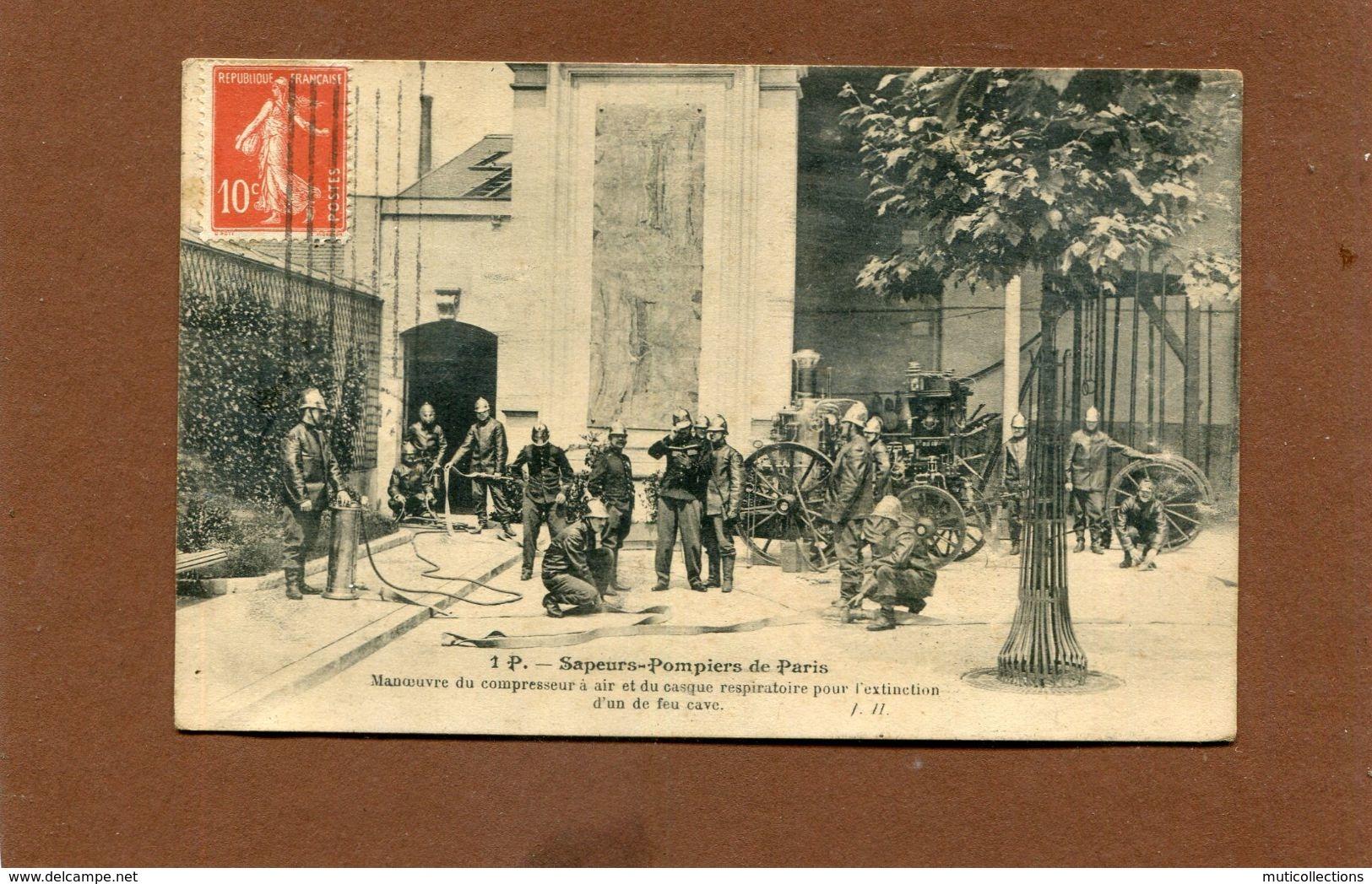 PARIS  1910  METIER SAPEURS POMPIER /  MANOEUVRE DU COMPRESSEUR ET MASQUE RESPIRATOIRE  EDITEUR JH - Artisanry In Paris