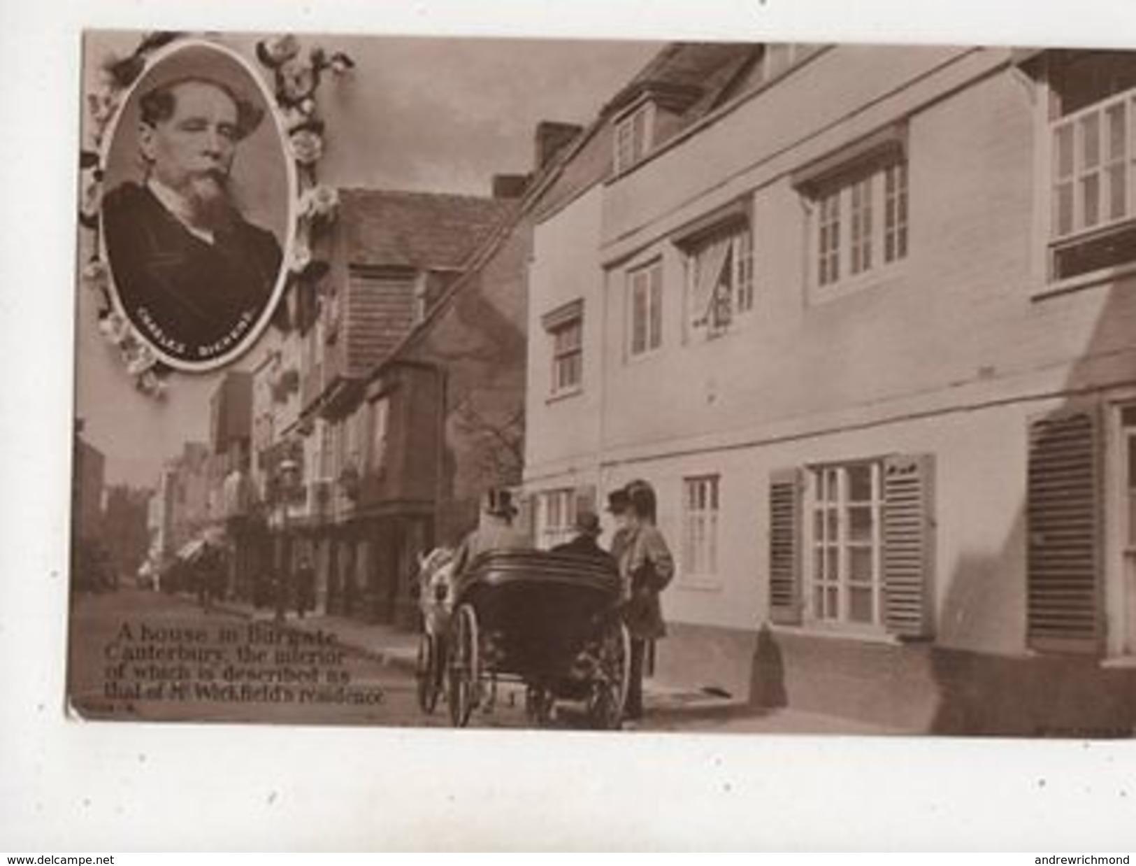 House In Burgate Canterbury M Wickfield Charles Dickens Vintage RP Postcard 670b - Angleterre