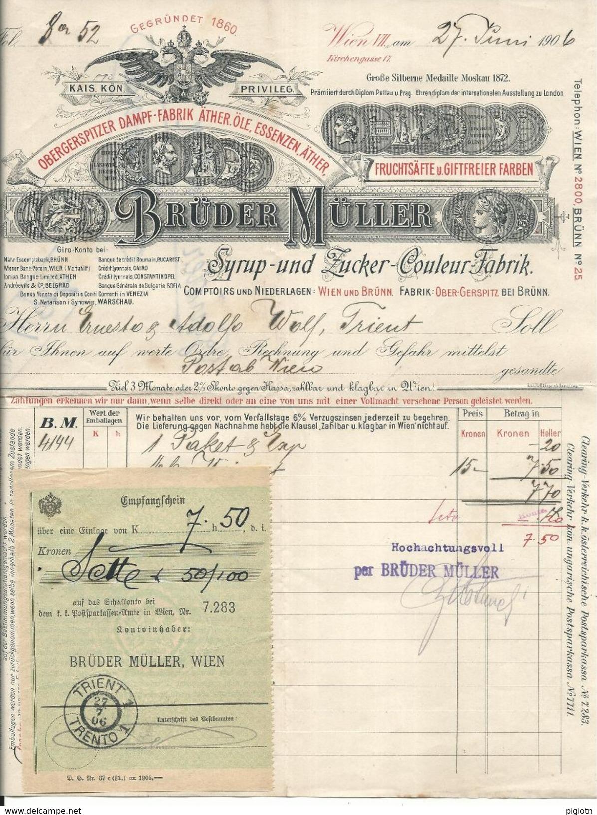 FAT64 - FATTURA 1906 BRùDER MùLLER - VIENNA WIEN -  SYRUP - UND ZUCKER - COULEUR FABRIK - Austria
