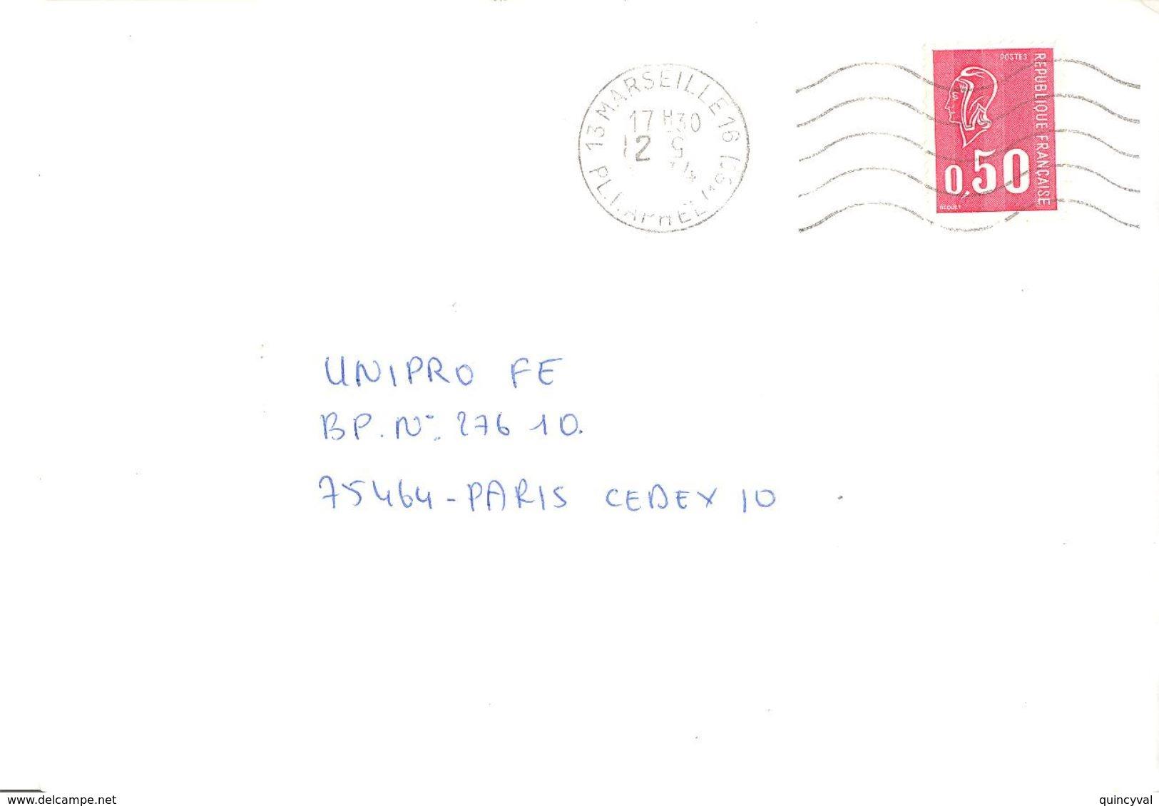 1953 MARSEILLE Lettre BEQUET  0,50 F Yv 1663 Ob Méca Avec Défaut Dans Bloc Dateur Chiffre Du Mois à L'envers - Postmark Collection (Covers)