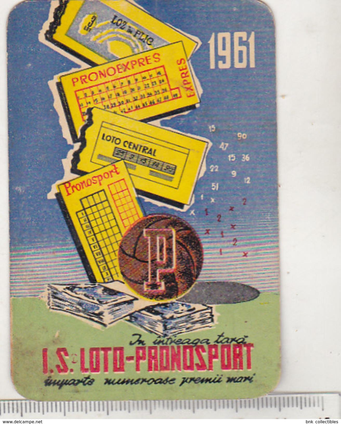 Romanian Small Calendar - 1961 - Lottery - Loto-pronosport - Petit Format : 1961-70