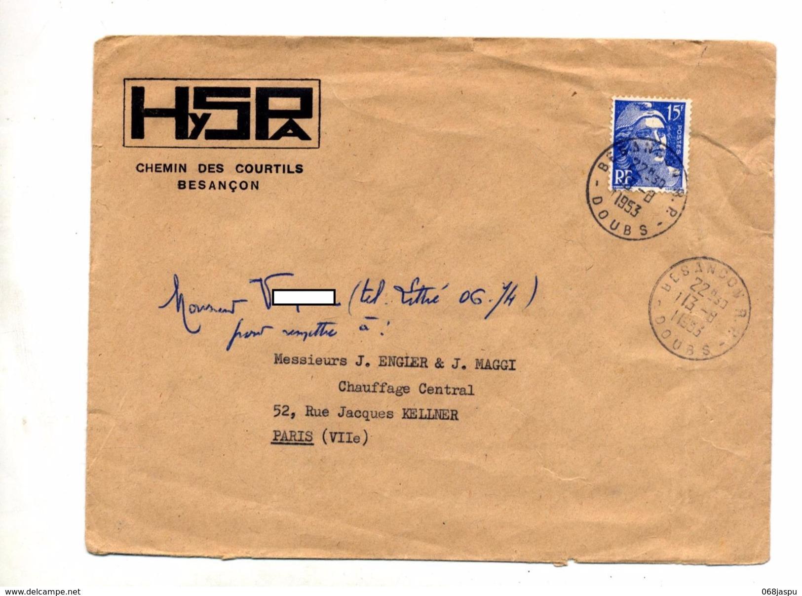 Lettre Franchise Cachet Besançon Entete Hyspa - Marcophilie (Lettres)