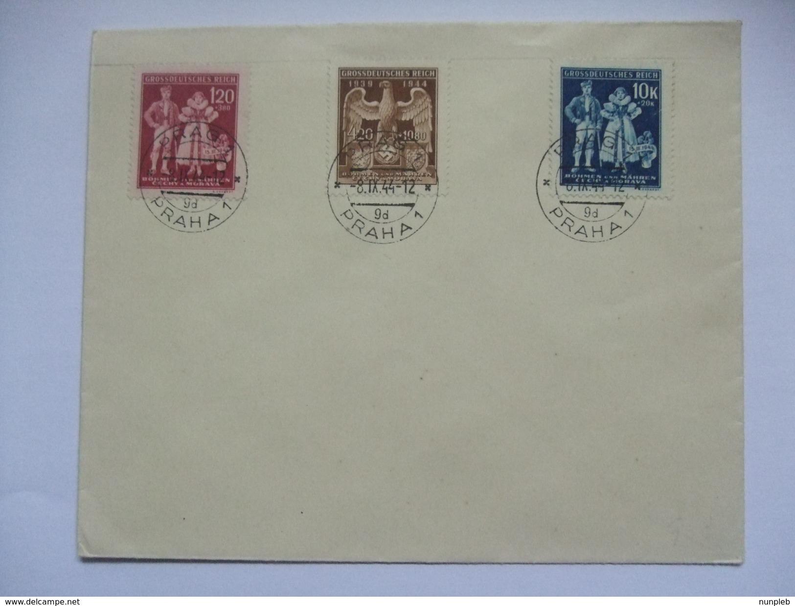 Bohemia & Moravia 1944 - Bohmen Und Mahren - Cover Tied With Mi 133-135 - Praha Postmark - Böhmen Und Mähren